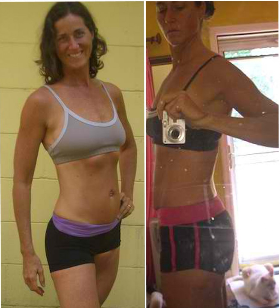 Naomi after her experiment at 20% body fat.  On the left fasted, on the right fully fed and hydrated.
